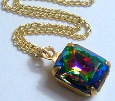 Designer Val Kirsch Mystic Topaz Vitrail Rainbow Crystal Gold Tone Necklace