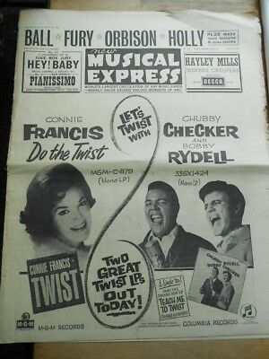 NME magazine 1962 Connie Francis, Kenny Ball, Marty Wilde, Buddy Holly, Orbison
