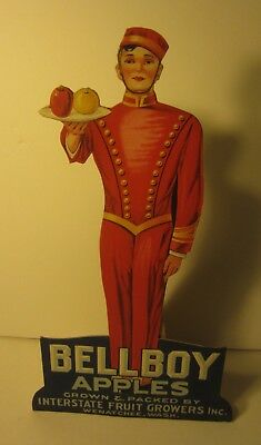 Old Vintage - BELLBOY Apples - STAND-UP Diecut STORE DISPLAY SIGN - Washington