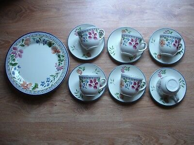 """4 Vintage Staffordshire Calypso Plates 10"""" (26cms) & 6 cups and saucers"""