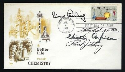Chemistry Nobel Prize Winners signed cover Pauling, Anfinsen, Flory & Moore RARE