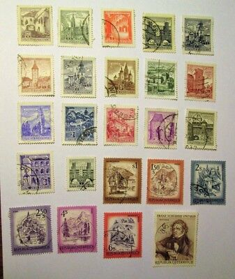 AUSTRIA, 1957-1978, Lot of (24)   Used, Hinged Stamps