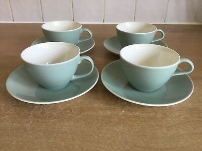 Poole Cameo Celadon Green - 4 X Cups and Saucers