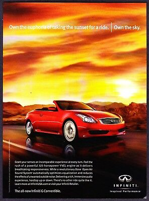 2009 Infiniti G Convertible photo Own the Euphoria & Sky promo print ad