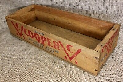 Wood Cooper CHEESE box crate vintage old Pope & Sons Phila rustic decoration