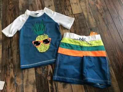 1520e0b0c318a3 Gymboree Swim Shop Nwt Pineapple Rash Guard Swim Suit Trunks Set Boys 3t