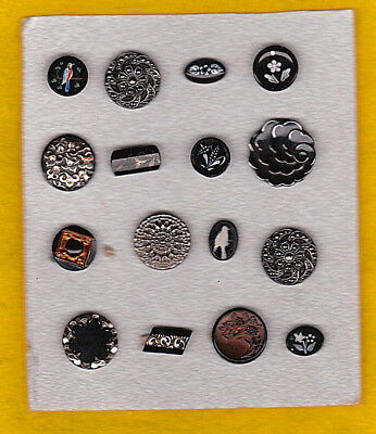 THE PICK OF THE LOT OF BLACK GLASS FANCY BUTTONS birds, flowers, enamels etc
