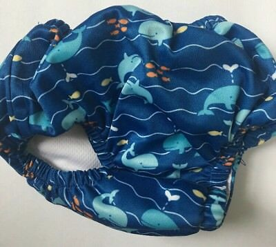 iPlay Reusable absorbent swimsuit diaper Royal Whale Print Sz 12 Months UPF 50+