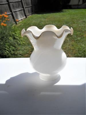 Glass Shade  - Probably From An Overhead Fan - White With Slightly Tinted Rim