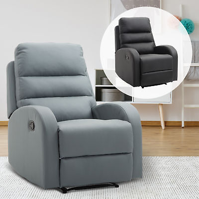 Manual Recliner Chair Lounge Armchair Adjustable Back Leather Padded Seat Home