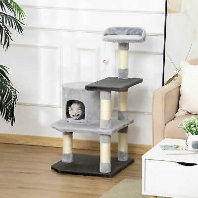 "39"" Cat Tree Scratching Post Condo House with Hanging Toy Grey"