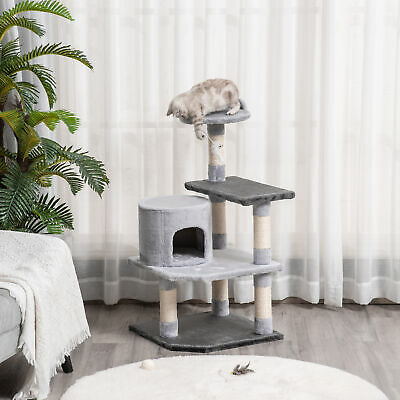 "39"" Cat Tree Condo Furniture Scratcher with Hanging Toy Grey"