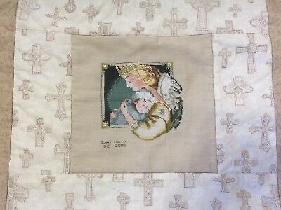 Hand Made Cross Stitch Baby Blanket Quilt Completed Guardian Angel Beaded