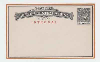 "BRITISH CENTRAL AFRICA 1d ""INTERNAL""(IN RED) POST CARD UNUSED H&G#1 (SEE BELOW)"