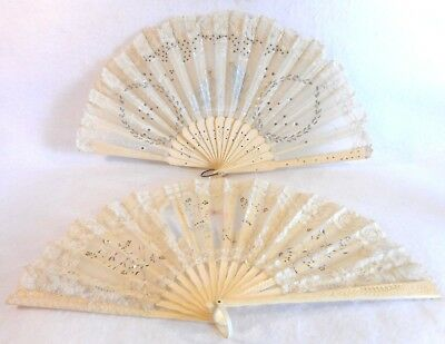 Pair of Antique Victorian Silk Lace Sequin Bone (?) Hand Fans, Late 1800's