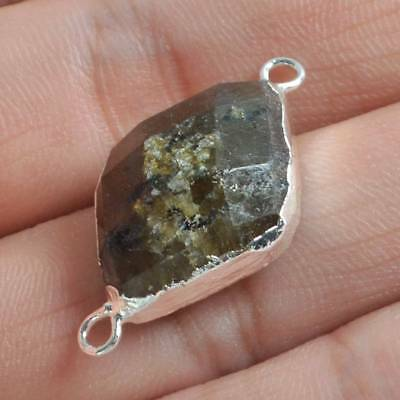 Natural Labradorite Faceted Connector Silver Plated H119100