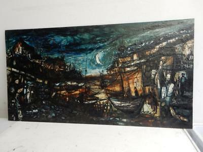 OLD PAINTING oil EVENING HARBOUR SEA BOATS signed