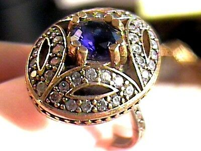 BLUE SAPPHIRE RING 8 ELEGANT COCKTAIL OPERA STERLING SILVER 925 nice elegant