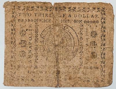 Annapolis maryland Two thirds Of A Dollar Colonial Currency Item#T6960