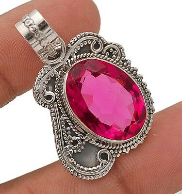 """10CT Rubellite Tourmaline 925 Solid Sterling Silver Pendant  Jewelry 1 1/2"""" Long"""