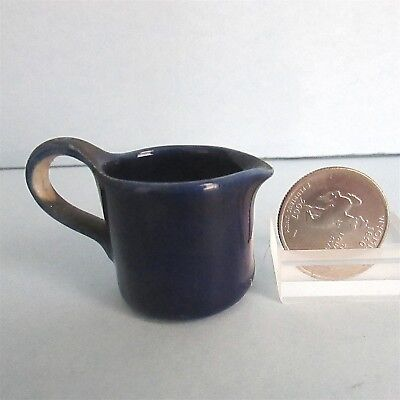 Pottery PITCHER Creamer Miniature Doll House Child Tea Set Cobalt Blue Vintage
