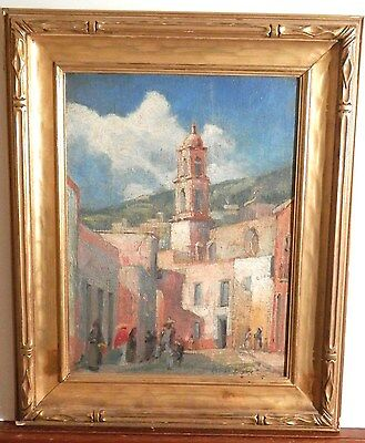 ANTIQUE Listed Artist old Fine Art OIL PAINTING impressionist artwork plus frame