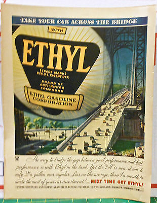 1934 magazine ad for Ethyl Gasoline - Colorful photo of vintage cars on bridge