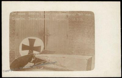 Germany WWI Aces Germany WWI Aces Immelmanns Crashed Plane  RPPC 68270