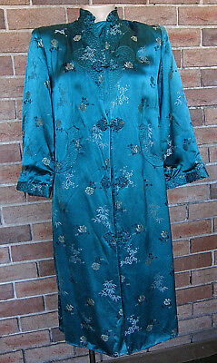 Vintage Chinese SILK Long Embroidered Dress Jacket - Azure Green - Size 10 / S
