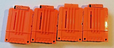 Lot of 4 Genuine Nerf N-Strike Soft Dart Gun 6 Round Magazine Clips Solid Orange