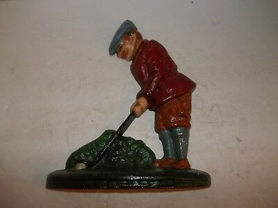 Cast Iron Metal Doorstop Golfer Golf Decor Art Deco Style Cottage Country Sale