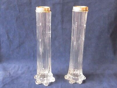 Antique Pair Silver Topped Glass Posy Vases Chester 1921- Richard Owen Williams