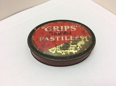"""Rare Vintage """"Grips"""" First Aid Pastilles Tin"""