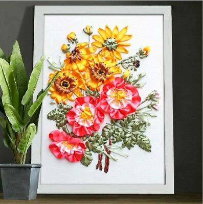 DIY Ribbon Embroidery Kit Summer Flower Marked Pattern Cotton Unframed 45x35 cm