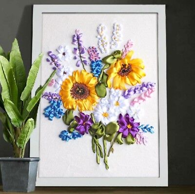 DIY Ribbon Embroidery Kit Sunflower Bouquet Marked Pattern Cotton 45x35 cm