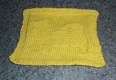 Brand New Hand Knit Pomeranian Dog Yellow Cotton Dish Cloth 4 Dog Rescue Charity