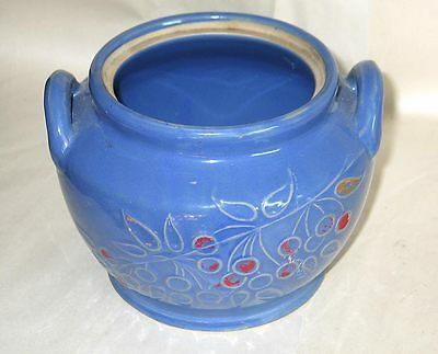 Vintage Medium Blue Crockery COOKIE JAR Ear Handles Hand Painted Cherries no lid