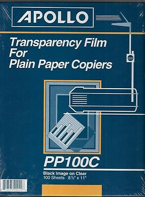Apollo Transparency Film for Plain Paper Copiers 100/Box PP100C Clear NEW Sealed