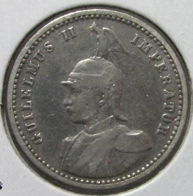German East Africa, 1/4 Rupie, 1901, Fine, Cleaned, .086 Ounce Silver