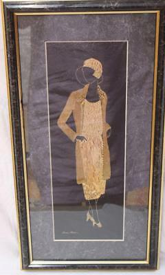 Unique Diane Milner Hand Diamond Cut on Brass Art Deco Lady Mesdames Collection