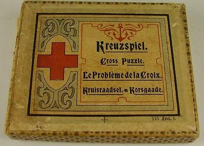Antikes Kreuzspiel Cross Puzzle in OVP vor 1945