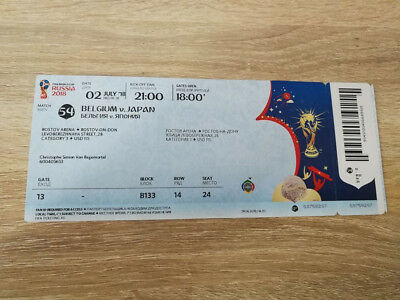 TICKET 2018 WM World Cup #54 BELGIUM - JAPAN with NAMES Russia MINT !!!