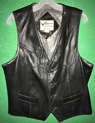 Sz 44 CONTINENTAL LEATHER VINTAGE BROWN BUTTON VEST 3 POCKETS SOFT & SUPPLE EUC