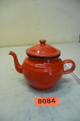 8084. Alte Emaille Email Kanne Teekanne Old enamelware pot