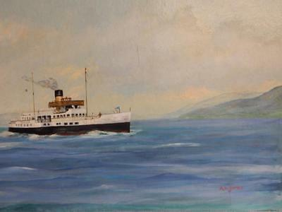 vintage OLD PAINTING oil SEA steam ship Caledonia SIGNED