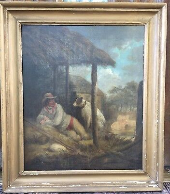 BEAUTIFUL 19th C Antique AMERICAN Genre Oil Painting Boy Dog ENGLISH Reading Pa