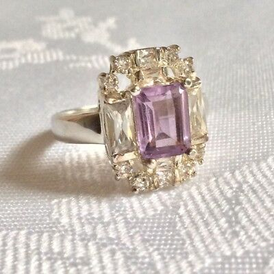 Beautiful Vintage Art Deco Style Amethyst & Clear Glass Dress Ring Size O