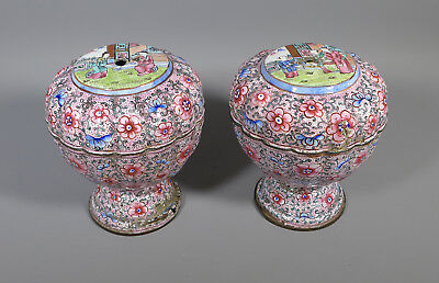 Fine Pair Antique Chinese Canton Cantonese Pink Enamel Lidded Pots As Found
