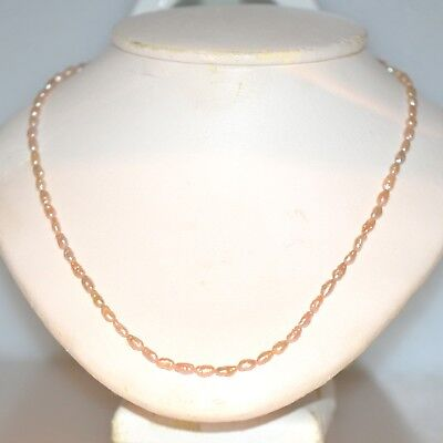 Estate Pearl Strand Necklace 14K Yellow Gold Pink Great Luster 16 Inch Long
