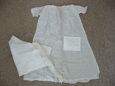 Antique Handmade Christening Dress + Handwritten Note 1902 & Confirmation Veil